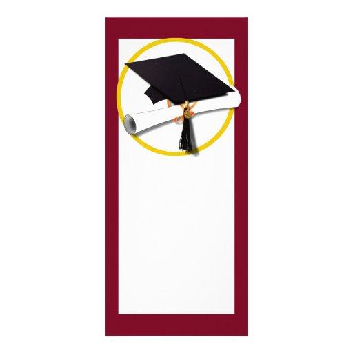 Fondo rojo del casquillo y del diploma de la gradu tarjeta publicitaria personalizada