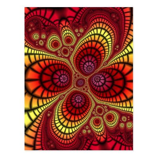 Fondo rojo del fractal tarjeta postal