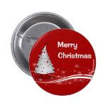 Fondo rojo festivo y árbol de navidad blanco pins