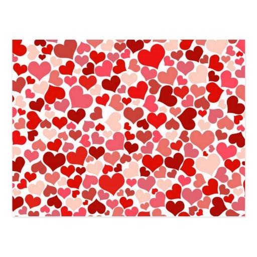 Fondo rojo lindo de los corazones tarjeta postal