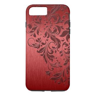 Fondo rojo metálico con el cordón rojo oscuro funda iPhone 7 plus