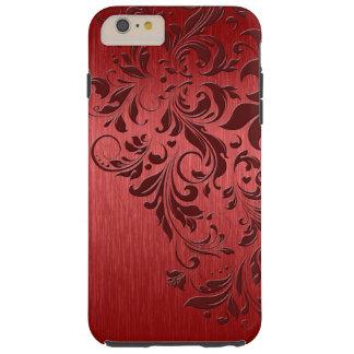 Fondo rojo metálico con el cordón rojo oscuro funda resistente iPhone 6 plus
