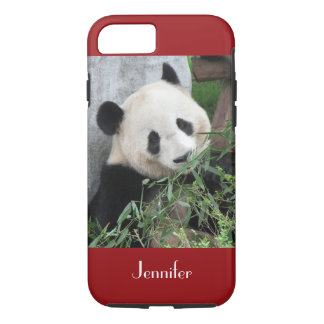 fondo rojo oscuro de la panda gigante del caso del funda iPhone 7