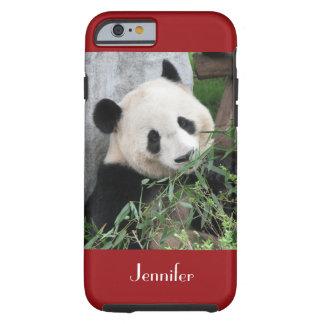 fondo rojo oscuro de la panda gigante del caso del funda resistente iPhone 6