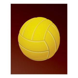 Fondo rojo terroso del voleibol amarillo perfect poster