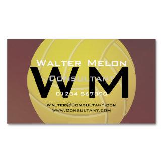 Fondo rojo terroso del voleibol amarillo tarjetas de visita magnéticas (paquete de 25)