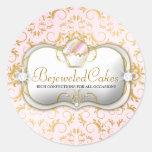 Fondo rosado Bejeweled Bella de 311 tortas del Pegatina Redonda
