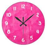 Fondo rosado de la acuarela reloj de pared