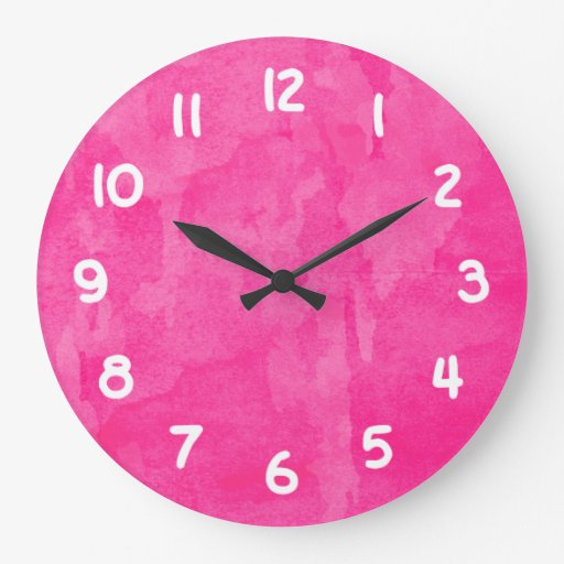 Fondo rosado de la acuarela reloj redondo grande