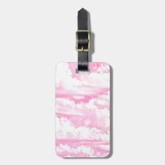 Fondo rosado de la moda de las nubes etiqueta para equipaje