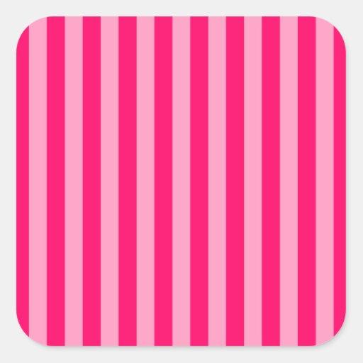 Fondo rosado de la raya calcomanía cuadradas personalizadas