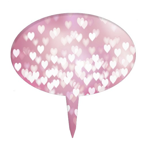 Fondo rosado de los corazones decoración de tarta