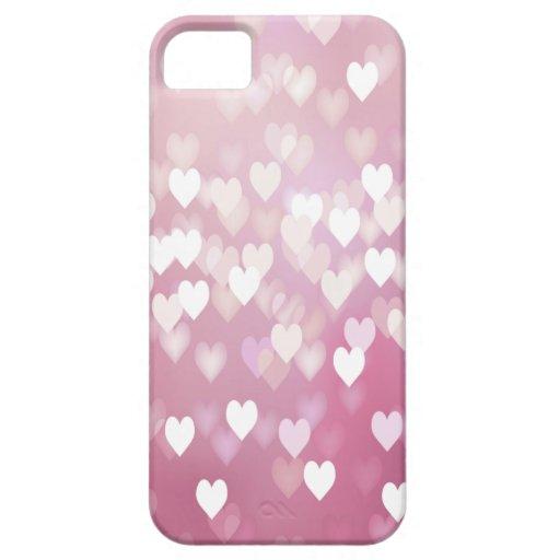 Fondo rosado de los corazones iPhone 5 carcasa