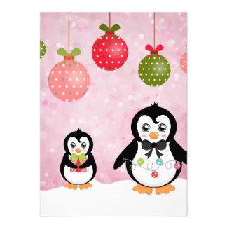 Fondo rosado de los pingüinos adorables del navida anuncio