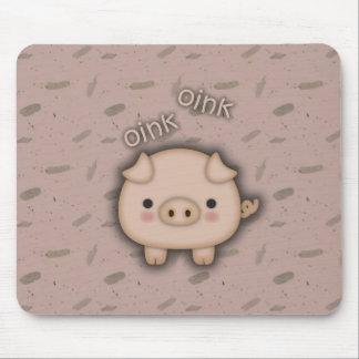 Fondo rosado rosado lindo del cerdo Oink Alfombrilla De Ratón
