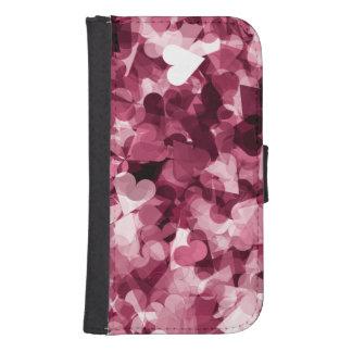 Fondo rosado suave de los corazones de Kawaii Funda Tipo Billetera Para Galaxy S4