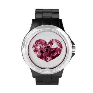 Fondo rosado suave de los corazones de Kawaii Relojes De Mano