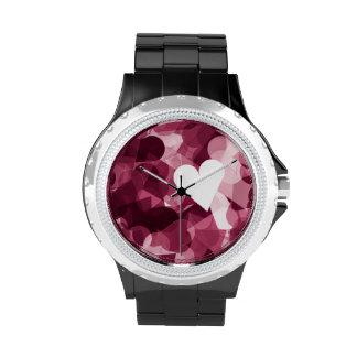 Fondo rosado suave de los corazones de Kawaii Relojes De Pulsera