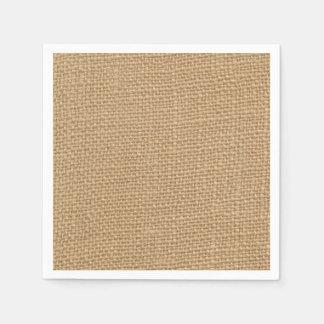 Fondo rústico de la arpillera impreso servilleta desechable