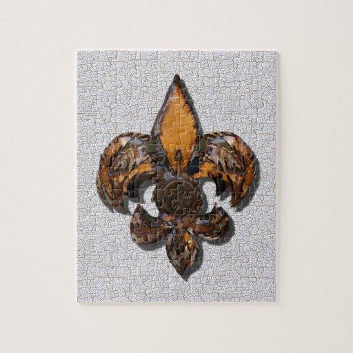 Fondo rústico del crujido de la flor de lis puzzle con fotos