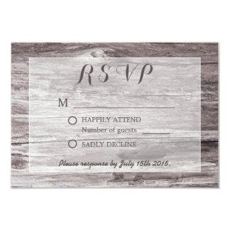 """Fondo rústico del Driftwood que casa RSVP Invitación 3.5"""" X 5"""""""