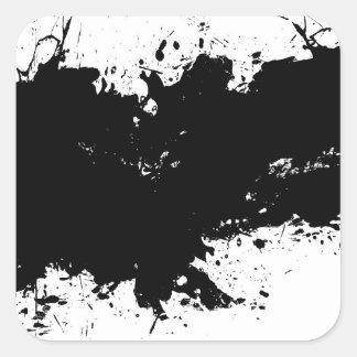 Fondo salpicado sucio de la tinta pegatina cuadrada