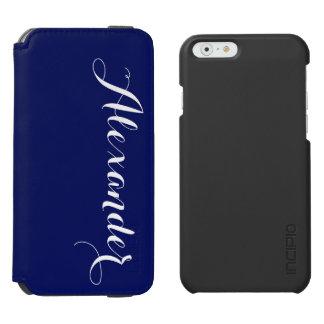 Fondo sólido de los azules marinos, monograma funda billetera para iPhone 6 watson