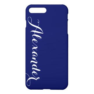 Fondo sólido de los azules marinos, monograma funda para iPhone 7 plus