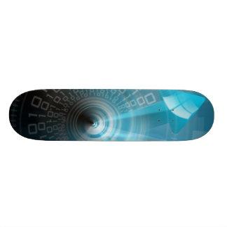 Fondo tecnológico del monopatín con arro azul skate boards