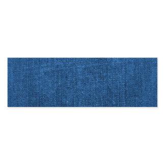 Fondo texturizado tela azul del dril de algodón tarjetas de visita mini