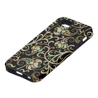 Fondo Tono-Negro de la plata floral retra de los iPhone 5 Carcasas