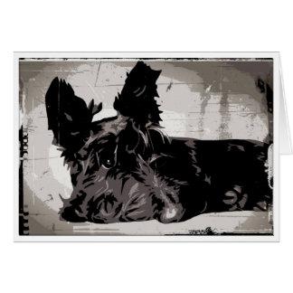 Fondo urbano de Terrier del escocés Tarjeta Pequeña