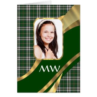 Fondo verde de la foto del tartán tarjeta de felicitación