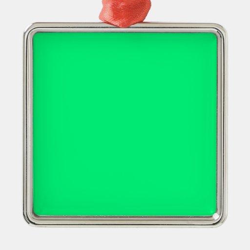 Fondo verde de la primavera adorno cuadrado plateado
