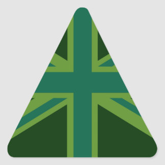 Fondo verde del estilo de la bandera de Union Jack Pegatina Triangular