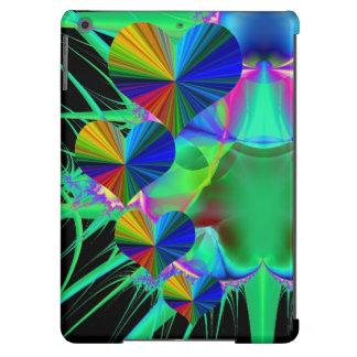 Fondo verde del fractal de 4 corazones del arco funda para iPad air