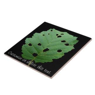 Fondo verde del negro de la hoja; Personalizable Teja Cerámica