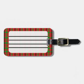 Fondo verde y rojo de la tela de la tela escocesa etiquetas de equipaje