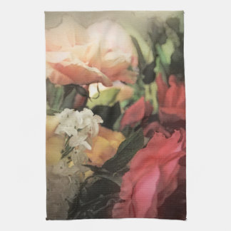 fondo vibrante del vintage floral del arte con roj toalla