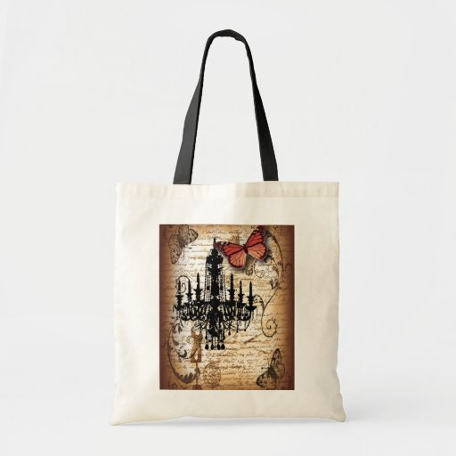 fondo vintage chandelier butterfly fashion tote bag