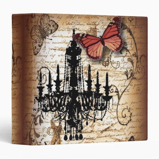 fondo vintage chandelier butterfly scripts 3 ring binder