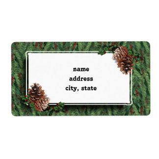 Fondo w/Tag del árbol de navidad Etiqueta De Envío