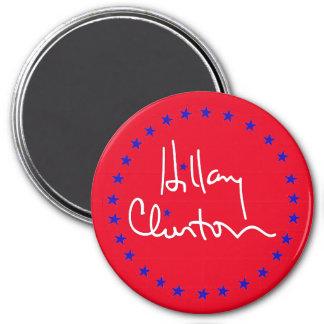 Fondo y estrellas rojos de la firma de Hillary Imán Redondo 7 Cm