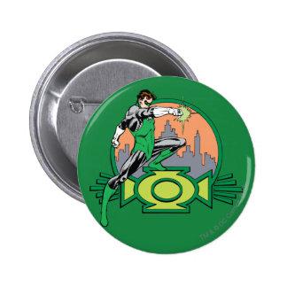 Fondo y logotipo verdes de la ciudad de la lintern pin