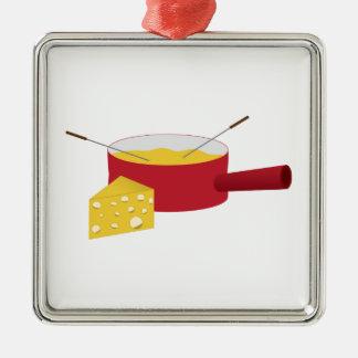 """fondue"" adorno navideño cuadrado de metal"