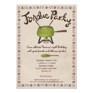 """Fondue Party Invitation 5"""" X 7"""" Invitation Card"""