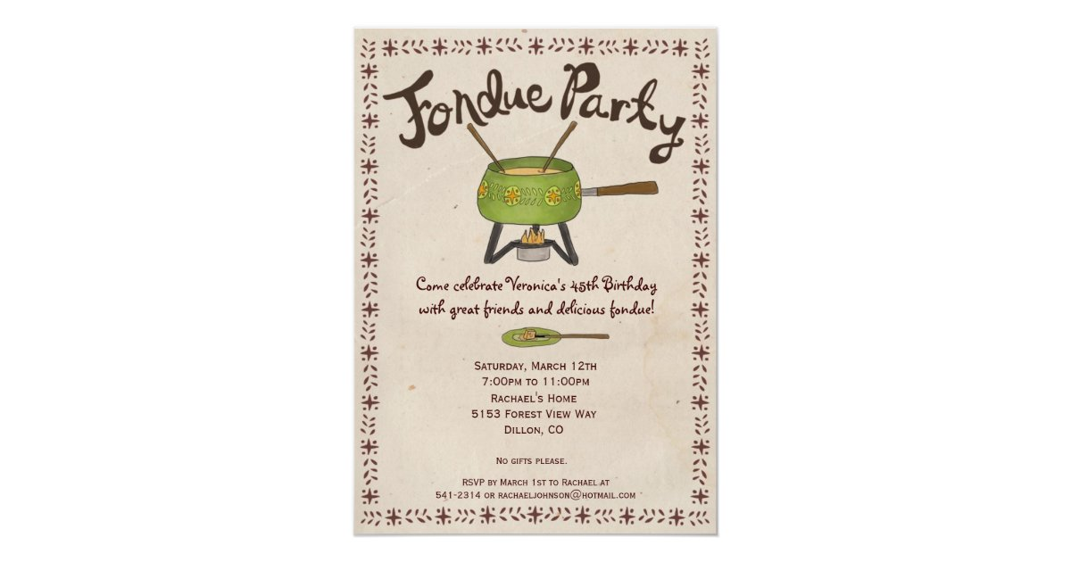 Fondue Party Invitation | Zazzle.com
