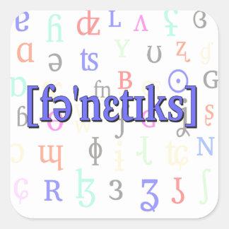 Fonética en IPA. Azul en fondo de los caracteres Pegatina Cuadrada