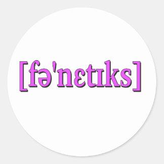 Fonética en IPA. Púrpura Pegatina Redonda