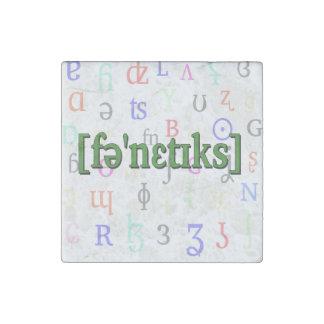 Fonética en IPA. Verde en fondo de los caracteres Imán De Piedra